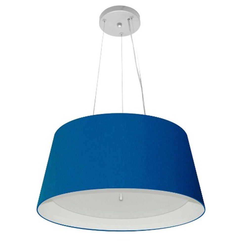 Lustre Pendente Cone Md-4144 Cúpula Forrada em Tecido 25x50x40cm Azul Marinho / Branco - Bivolt
