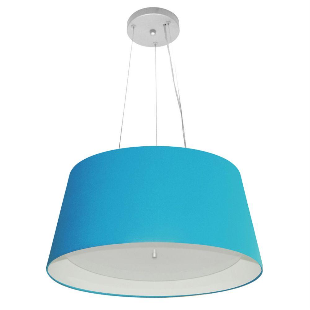 Lustre Pendente Cone Md-4144 Cúpula Forrada em Tecido 25x50x40cm Azul Turquesa / Branco - Bivolt