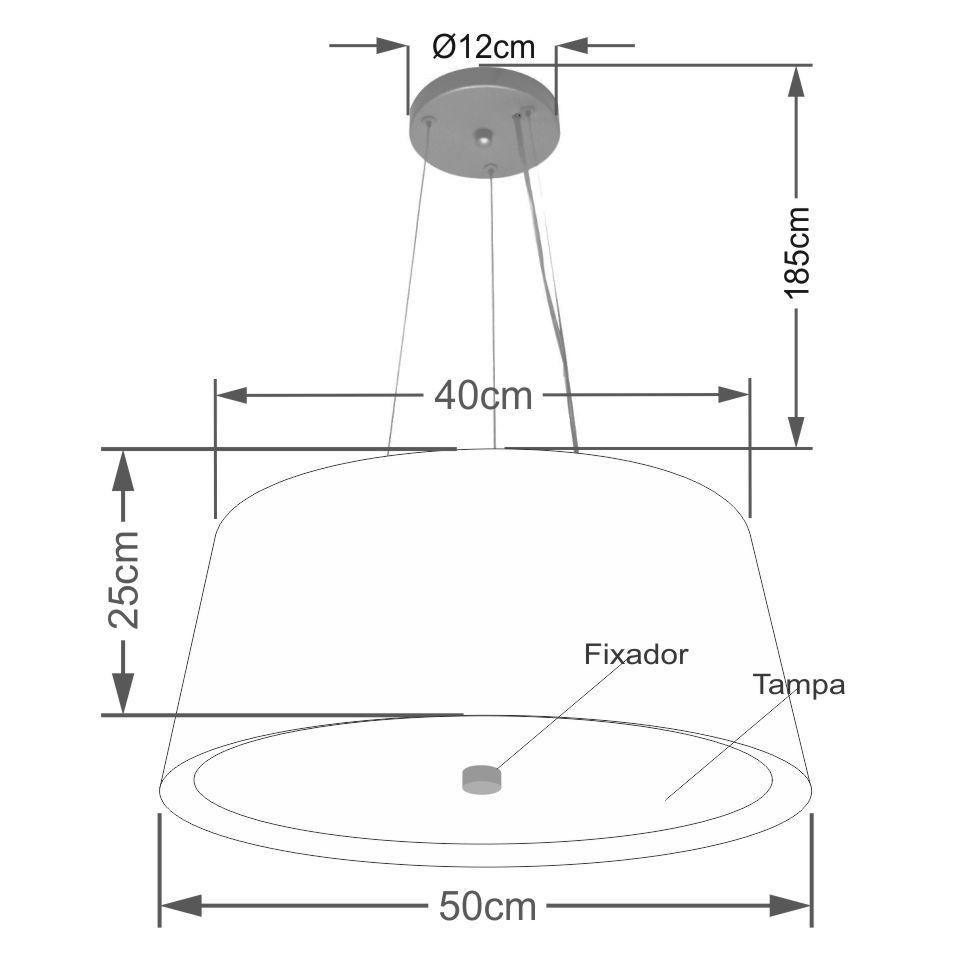 Lustre Pendente Cone Md-4144 Cúpula Forrada em Tecido 25x50x40cm Bordo / Branco - Bivolt