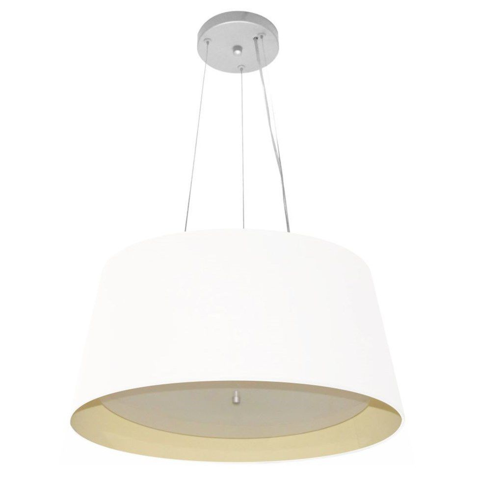 Lustre Pendente Cone Md-4144 Cúpula Forrada em Tecido 25x50x40cm Branco / Bege - Bivolt