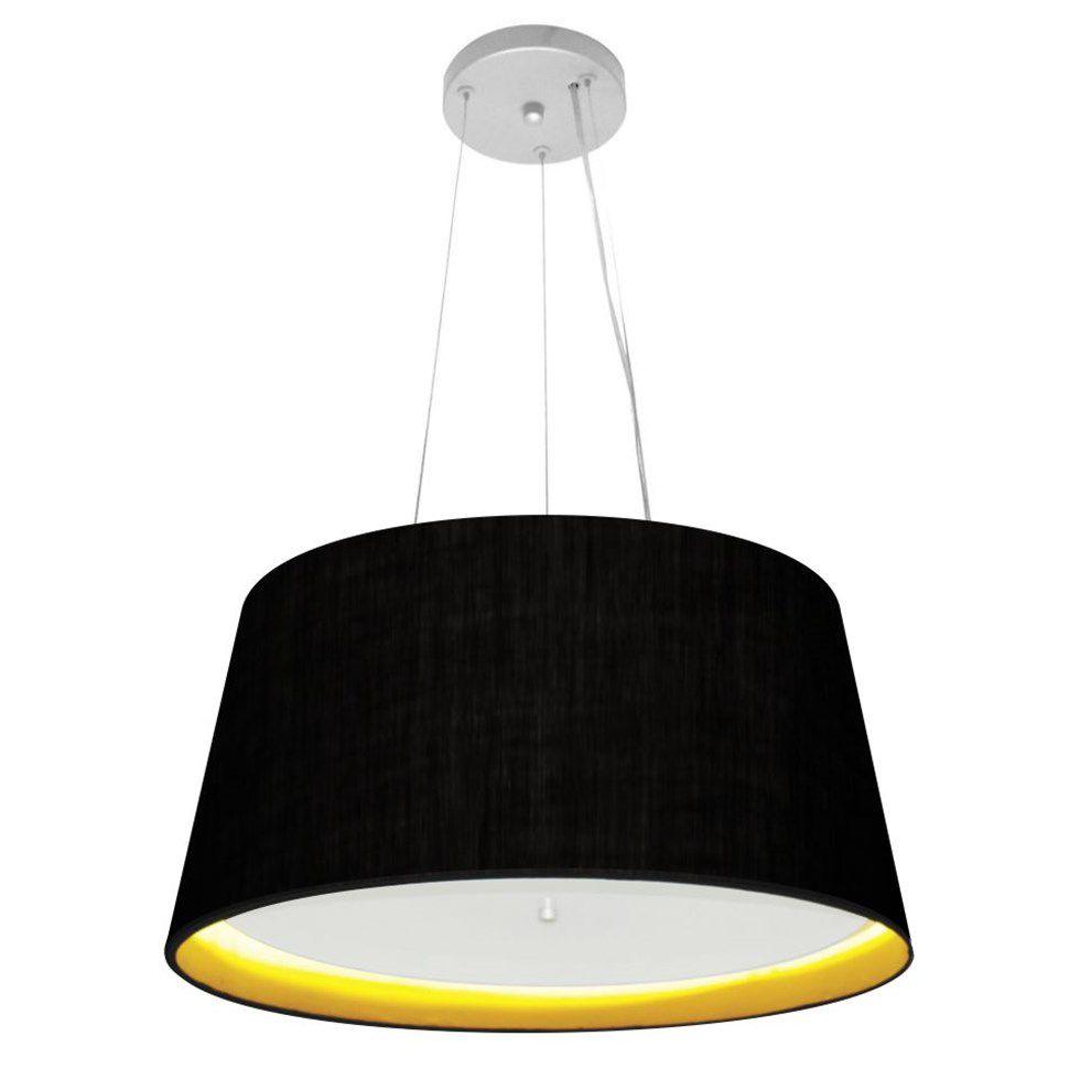 Lustre Pendente Cone Md-4144 Cúpula Forrada em Tecido 25x50x40cm Preto / Amarelo - Bivolt