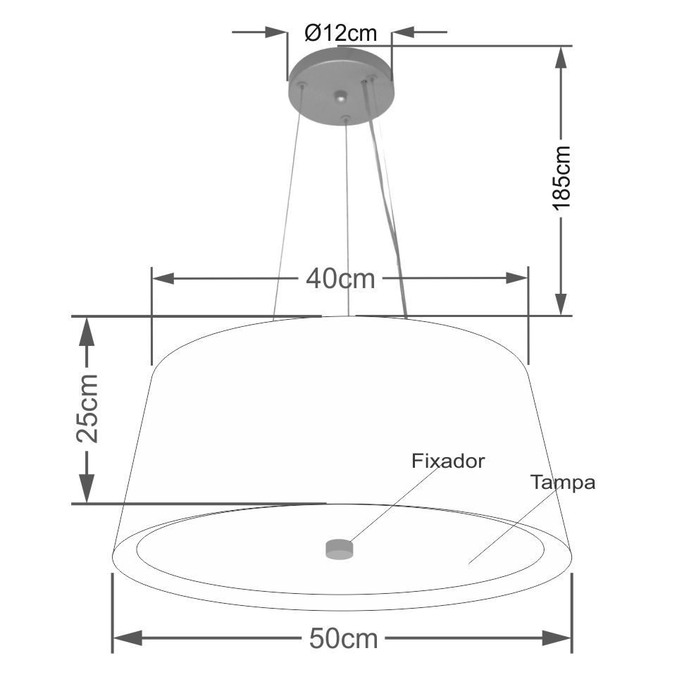 Lustre Pendente Cone Md-4144 Cúpula Forrada em Tecido 25x50x40cm Preto / Bege - Bivolt