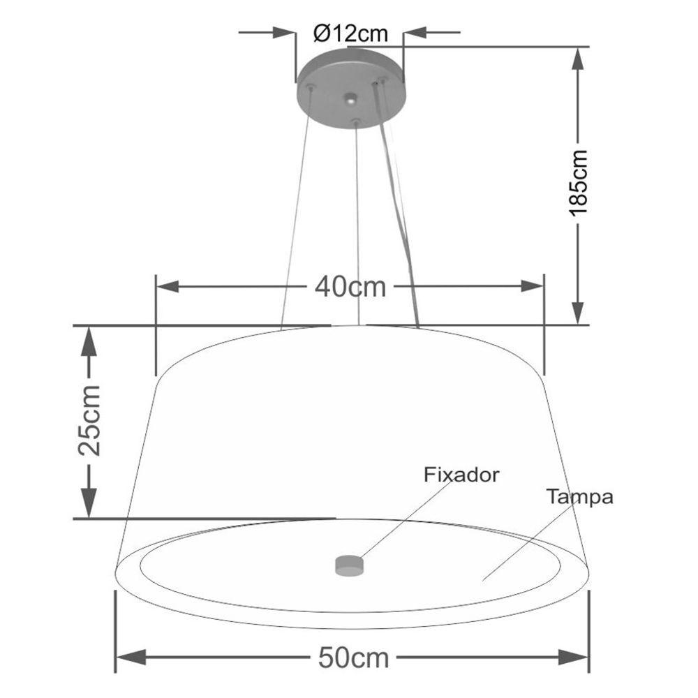 Lustre Pendente Cone Md-4144 Cúpula Forrada em Tecido 25x50x40cm Preto / Branco - Bivolt