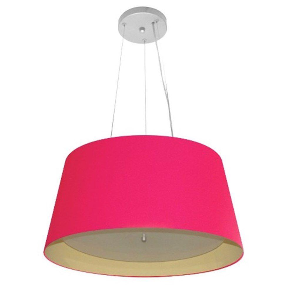 Lustre Pendente Cone Md-4144 Cúpula Forrada em Tecido 25x50x40cm Rosa Pink / Bege - Bivolt