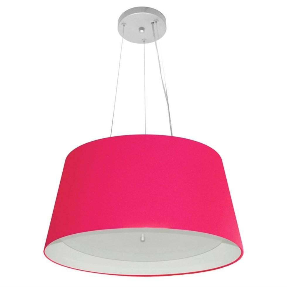 Lustre Pendente Cone Md-4144 Cúpula Forrada em Tecido 25x50x40cm Rosa Pink / Branco - Bivolt