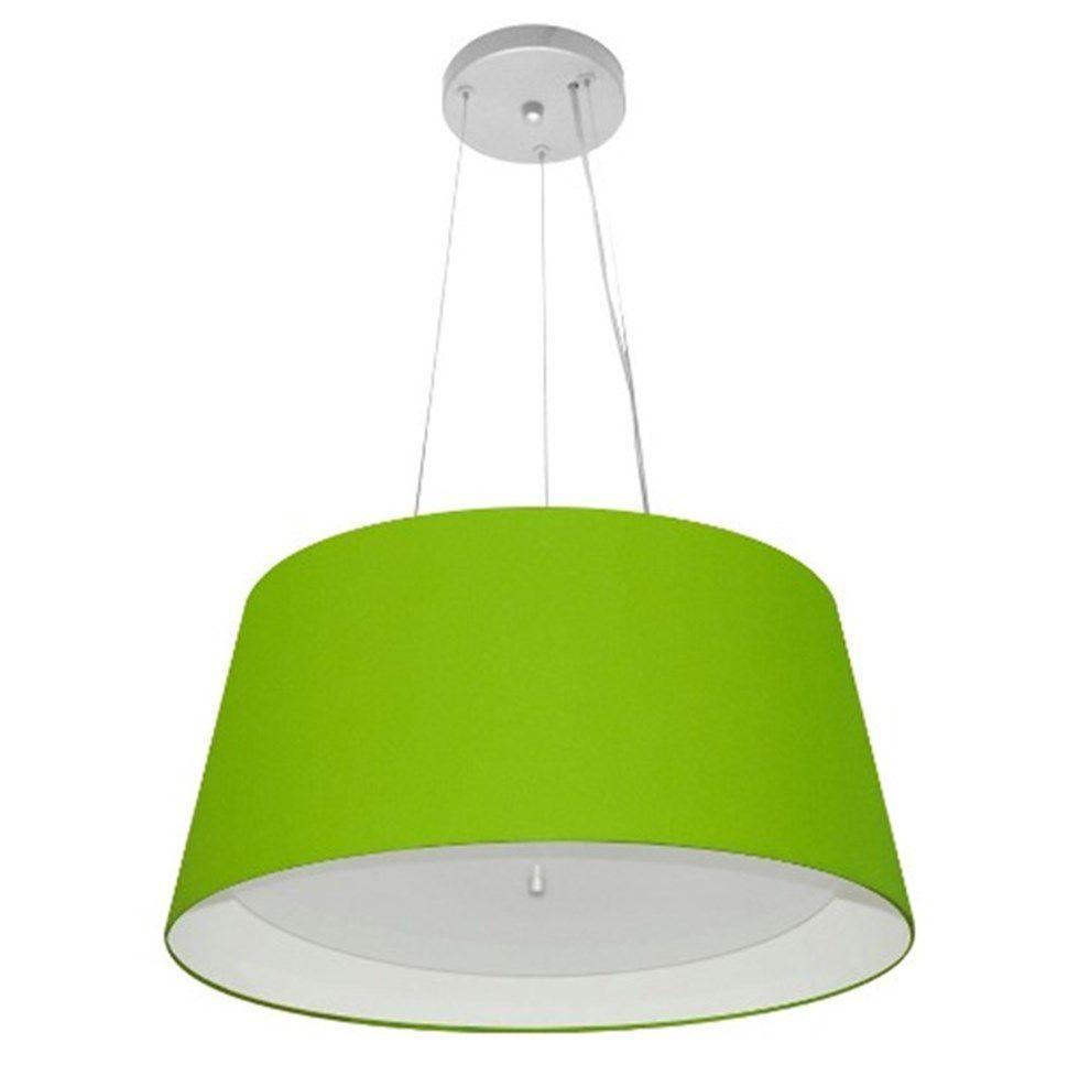 Lustre Pendente Cone Md-4144 Cúpula Forrada em Tecido 25x50x40cm Verde Limao / Branco - Bivolt