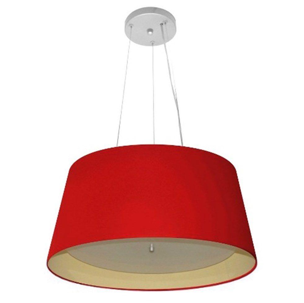 Lustre Pendente Cone Md-4144 Cúpula Forrada em Tecido 25x50x40cm Vermelho / Bege - Bivolt