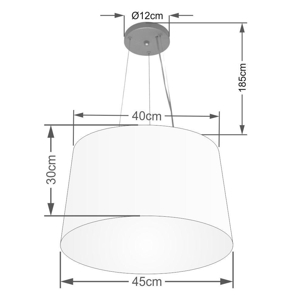 Lustre Pendente Cone Md-4153 Cúpula em Tecido 30/45x40cm Bordo - Bivolt