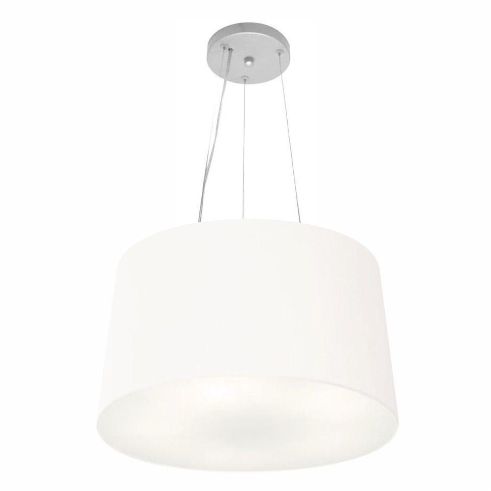 Lustre Pendente Cone Md-4153 Cúpula em Tecido 30/45x40cm Branco - Bivolt