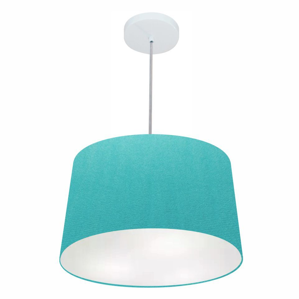 Lustre Pendente Cone Md-4156 Cúpula em Tecido 30/45x40cm Azul Turquesa - Bivolt