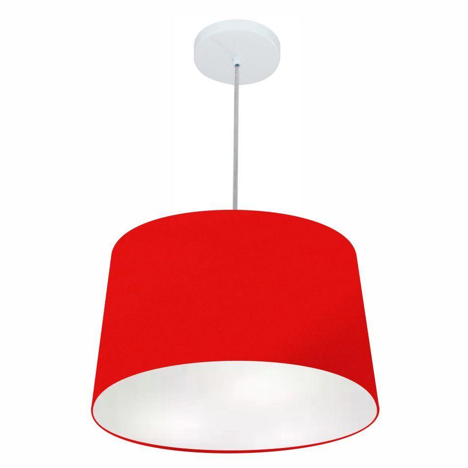 Lustre Pendente Cone Md-4156 Cúpula em Tecido 30/45x40cm Vermelho - Bivolt
