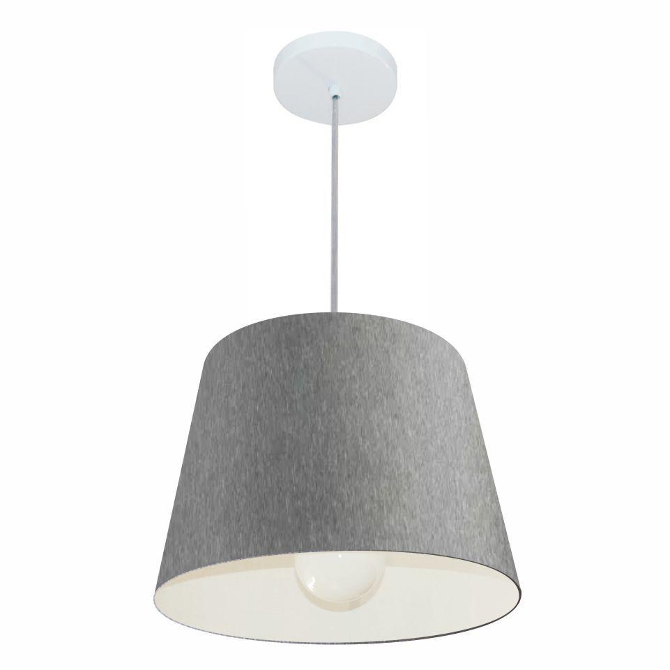 Lustre Pendente Cone Md-4240 Cúpula em Tecido 30/40x30cm Rustico Cinza - Bivolt