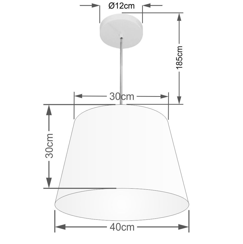 Lustre Pendente Cone Md-4246 Cúpula em Tecido 30/40x30cm Algodão Crú - Bivolt