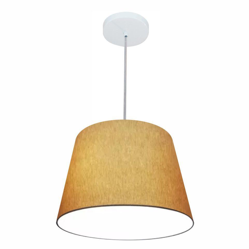 Lustre Pendente Cone Md-4246 Cúpula em Tecido 30/40x30cm Palha - Bivolt