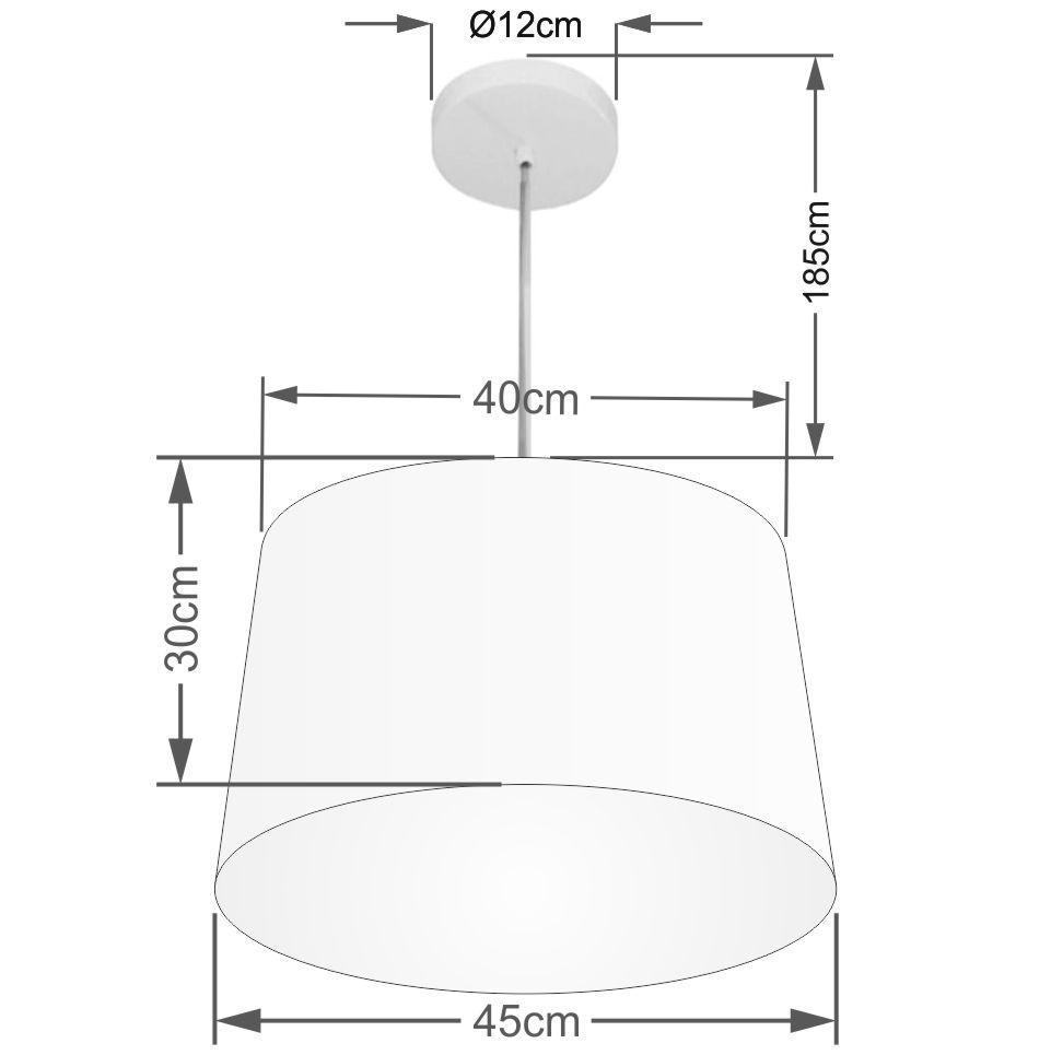 Lustre Pendente Cone Md-4247 Cúpula em Tecido 30/45x40cm Branco - Bivolt