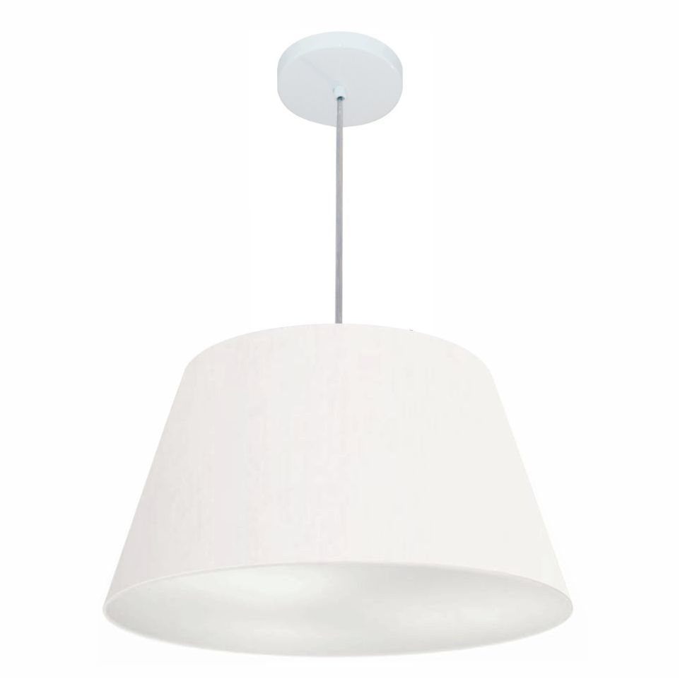 Lustre Pendente Cone Md-4248 Cúpula em Tecido 30/50x35cm Branco - Bivolt