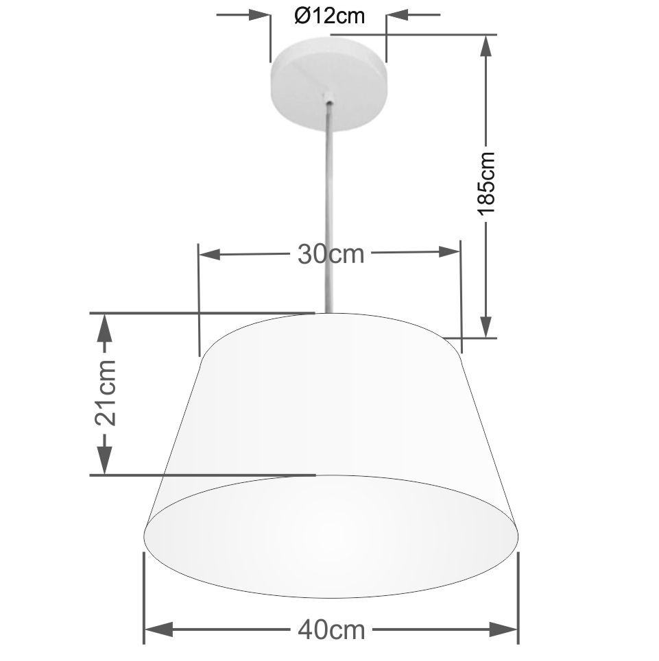 Lustre Pendente Cone Vivare Md-4039 Cúpula em Tecido 21/40x30cm - Bivolt