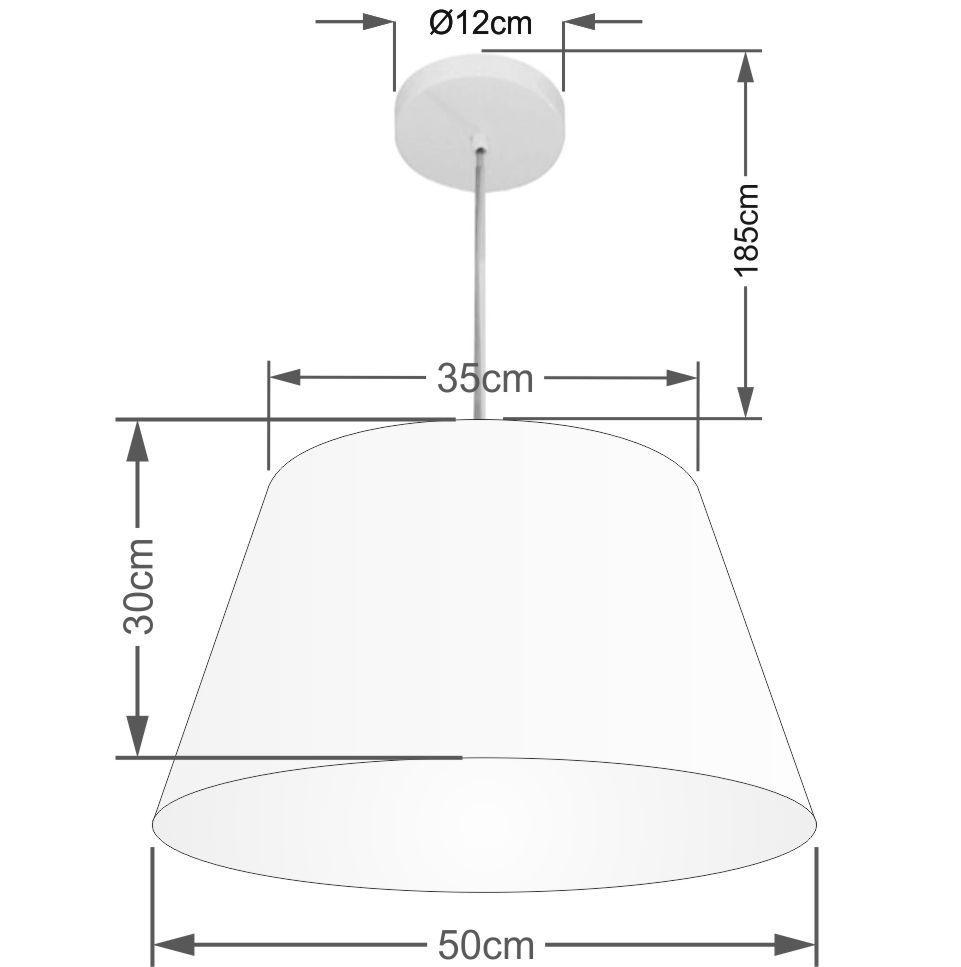 Lustre Pendente Cone Vivare Md-4248 Cúpula em Tecido 30/50x35cm - Bivolt