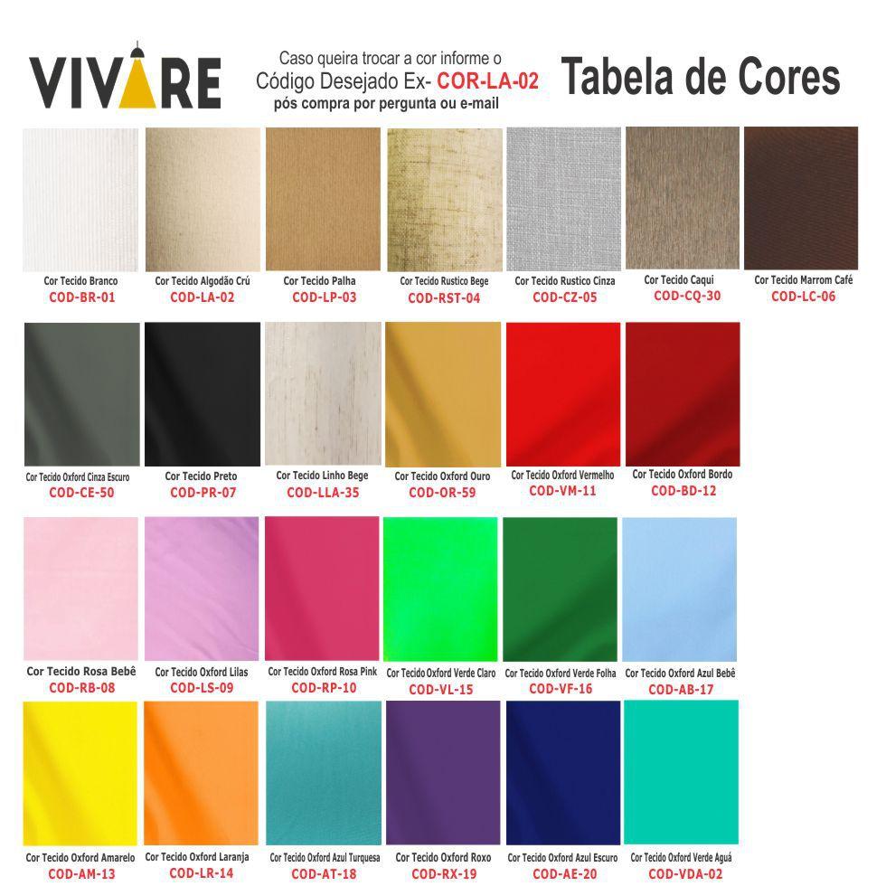 Lustre Pendente Cone Vivare Md-4249 Cúpula em Tecido 30/50x35cm - Bivolt