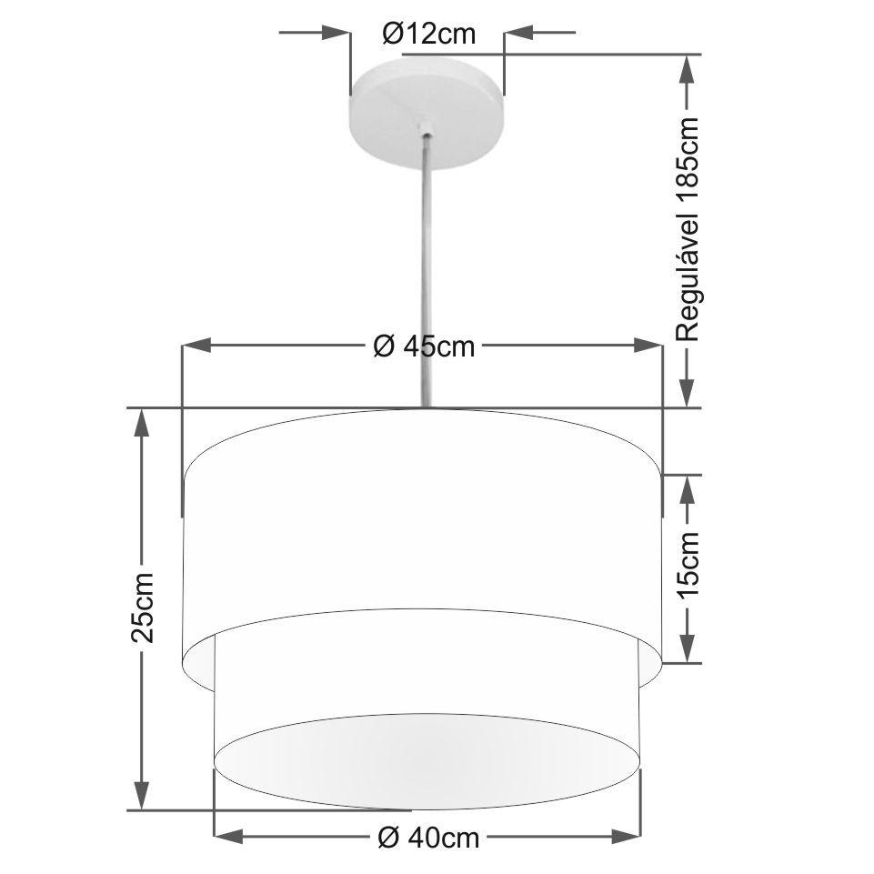 Lustre Pendente Duplo Cilíndrico Vivare Md-4350 Cúpula Tecido 45x40cm - Bivolt