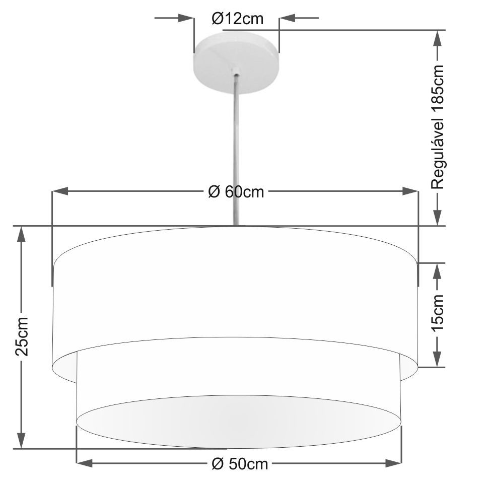 Lustre Pendente Duplo Cilíndrico Vivare Md-4353 Cúpula Tecido 60x50cm - Bivolt