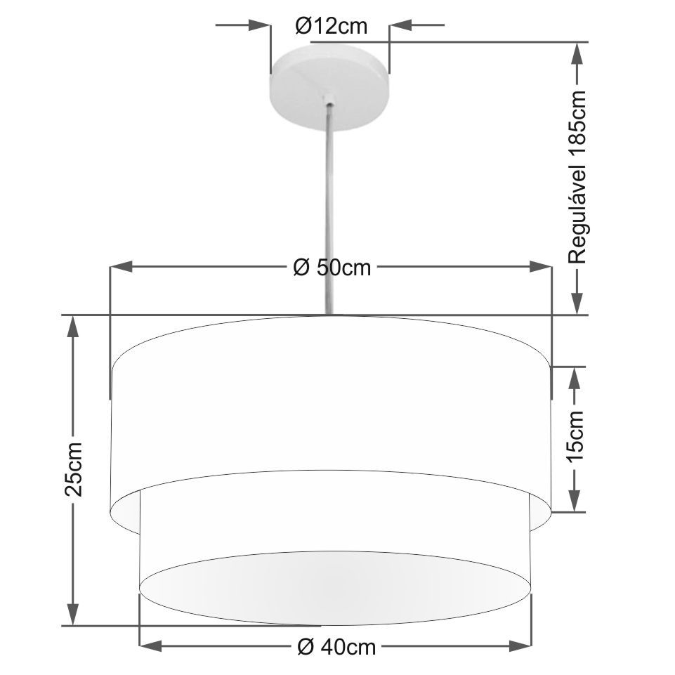 Lustre Pendente Duplo Cilíndrico Vivare Md-4355 Cúpula Tecido 50x40cm - Bivolt