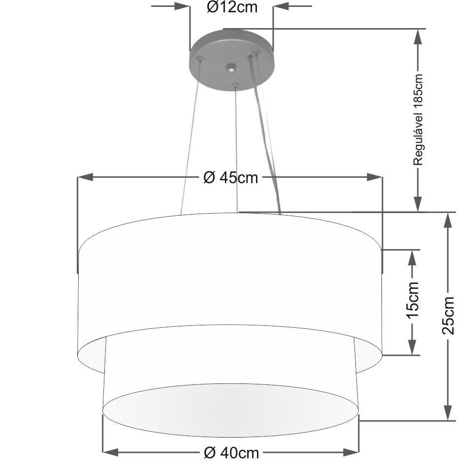 Lustre Pendente Duplo Cilíndrico Vivare Md-4369 Cúpula em Tecido 45x40cm - Bivolt