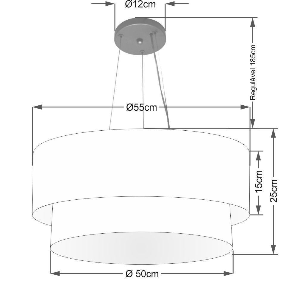 Lustre Pendente Duplo Cilíndrico Vivare Md-4370 Cúpula em Tecido 55x50cm