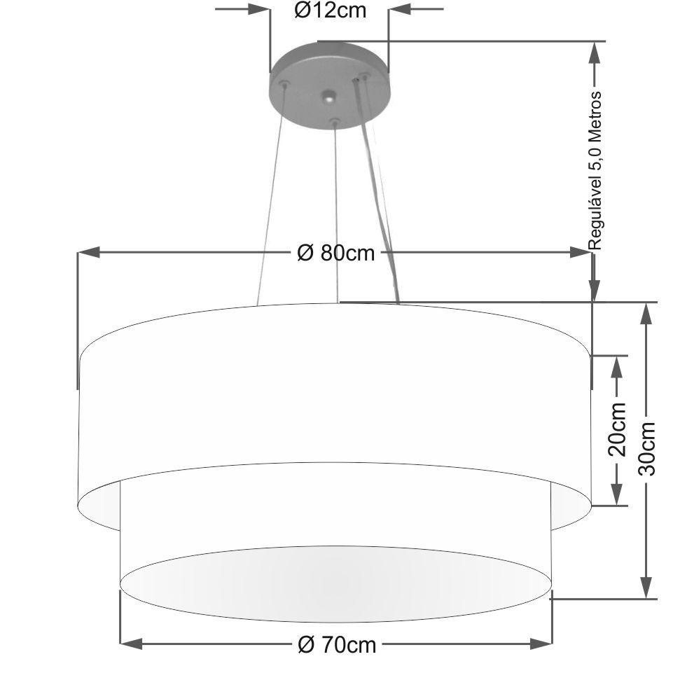 Lustre Pendente Duplo Cilíndrico Vivare Md-4371 Cúpula em Tecido 80x70cm - Bivolt
