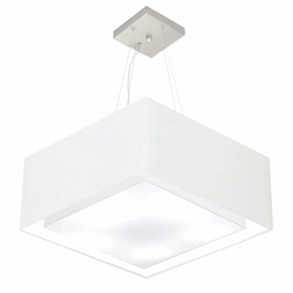 Lustre Pendente Duplo Quadrado Md-4127 Cúpula em Tecido 25/50x50cm Branco - Bivolt