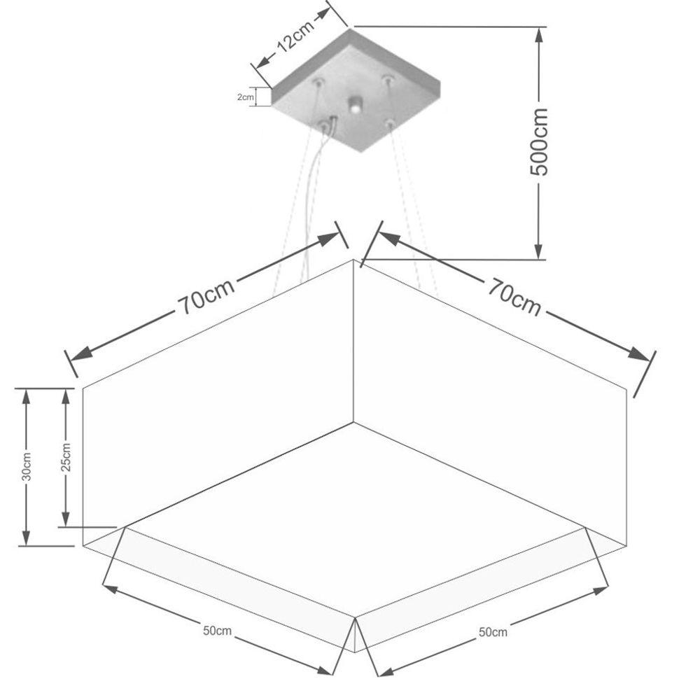 Lustre Pendente Duplo Quadrado Md-4128 Cúpula em Tecido 30/70x70cm Algodão Crú - Bivolt