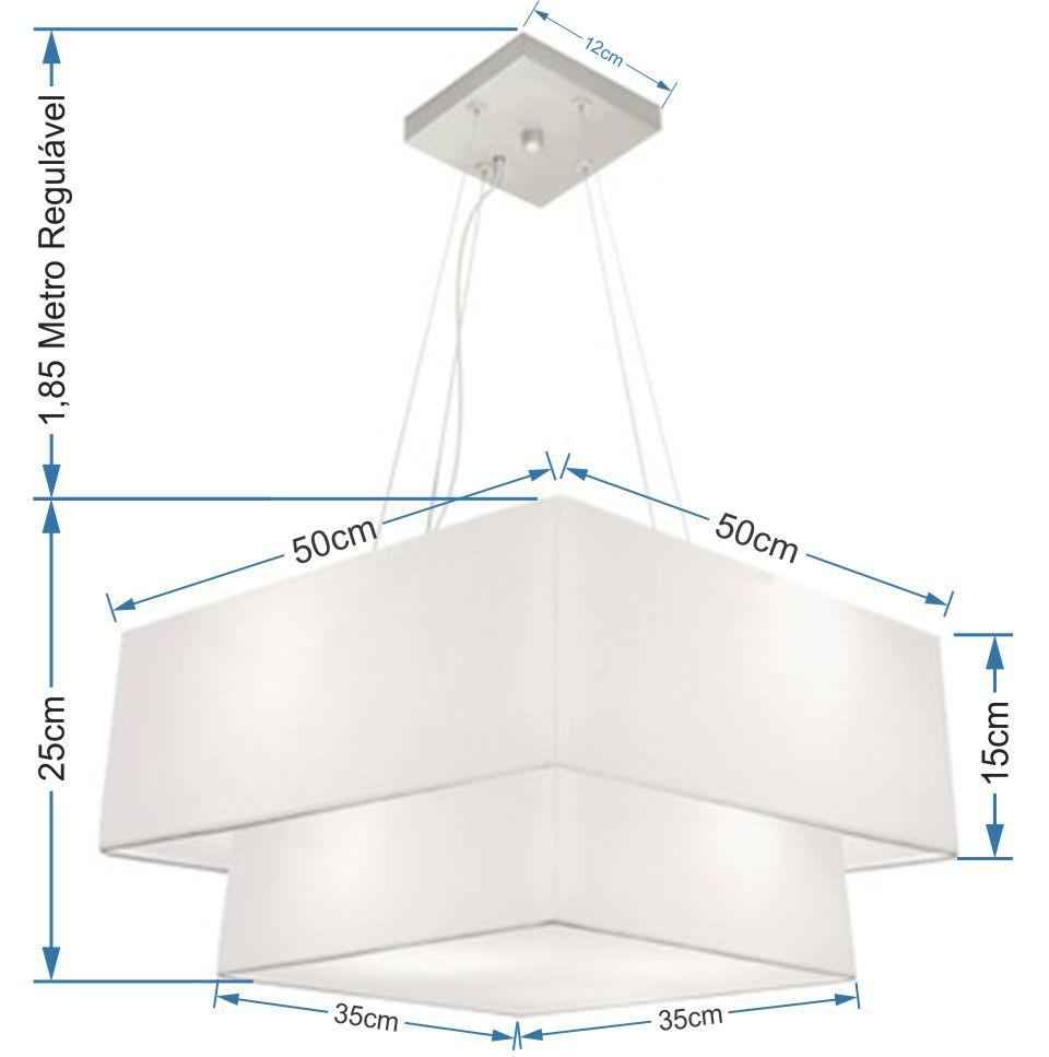 Lustre Pendente Duplo Quadrado Vivare Md-4066 Cúpula em Tecido 50x35cm Branco - Bivolt