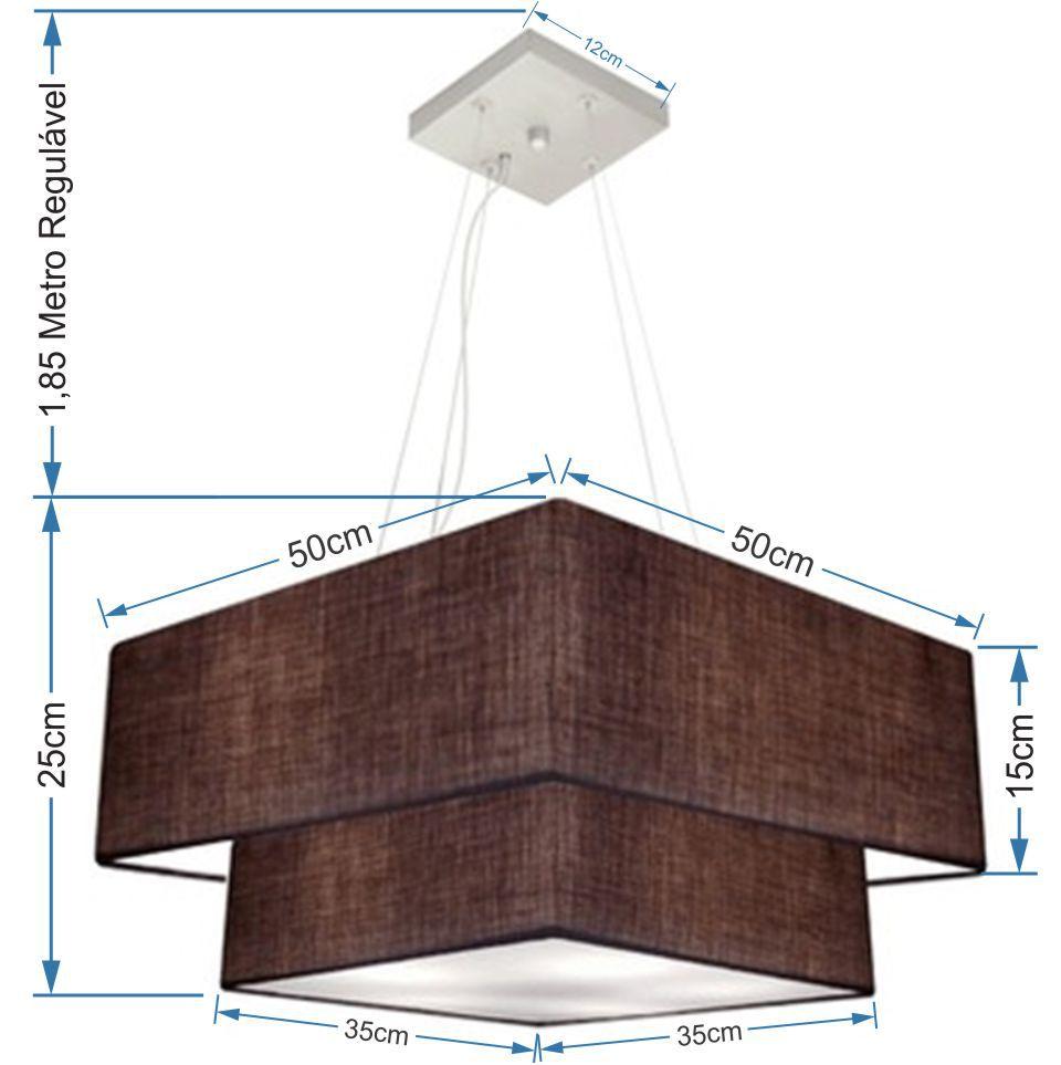Lustre Pendente Duplo Quadrado Vivare Md-4066 Cúpula em Tecido 50x35cm Café - Bivolt