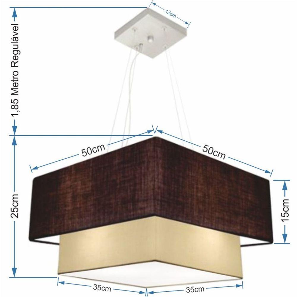 Lustre Pendente Duplo Quadrado Vivare Md-4066 Cúpula em Tecido 50x35cm Café - Bege - Bivolt