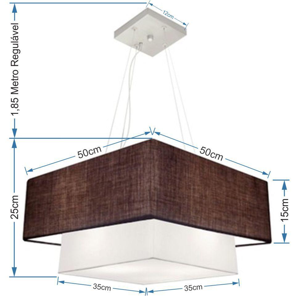 Lustre Pendente Duplo Quadrado Vivare Md-4066 Cúpula em Tecido 50x35cm Café - Branco - Bivolt