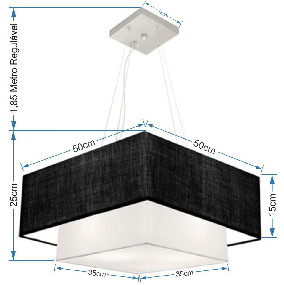 Lustre Pendente Duplo Quadrado Vivare Md-4066 Cúpula em Tecido 50x35cm Preto / Branco - Bivolt