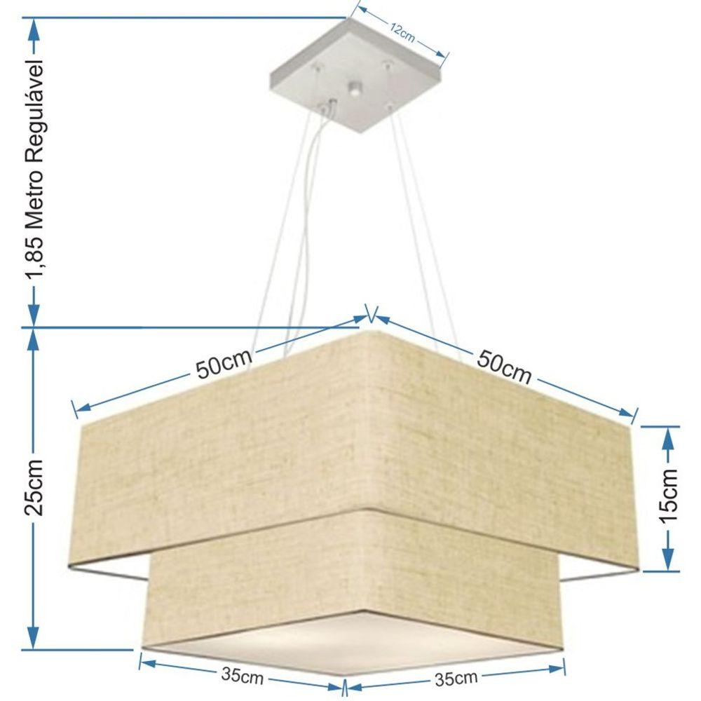 Lustre Pendente Duplo Quadrado Vivare Md-4066 Cúpula em Tecido 50x35cm Rustico Bege - Bivolt