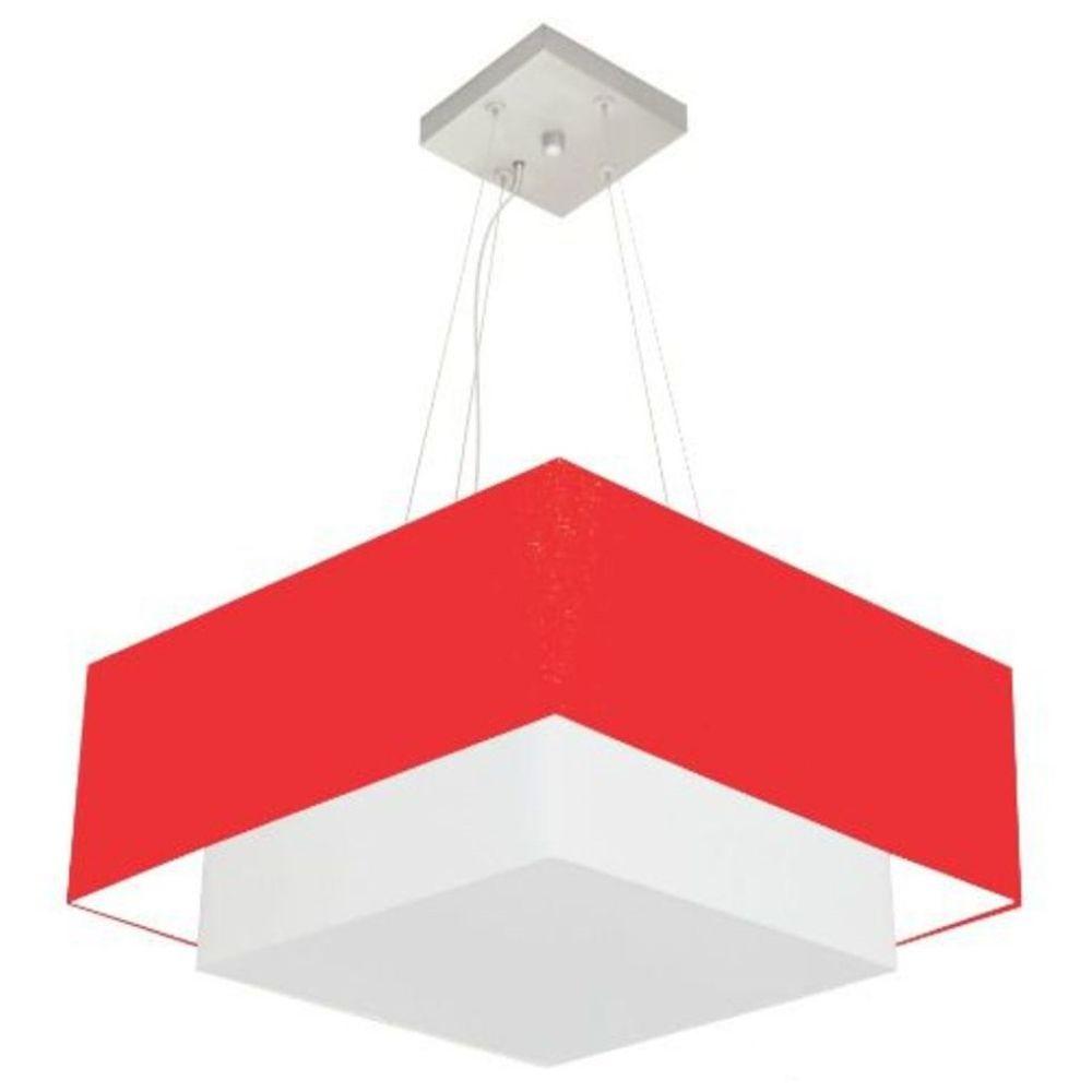 Lustre Pendente Duplo Quadrado Vivare Md-4066 Cúpula em Tecido 50x35cm Vermelho - Bivolt