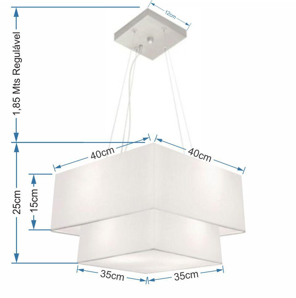 Lustre Pendente Duplo Quadrado Vivare Md-4157 Cúpula em Tecido 40x35cm Branco - Bivolt