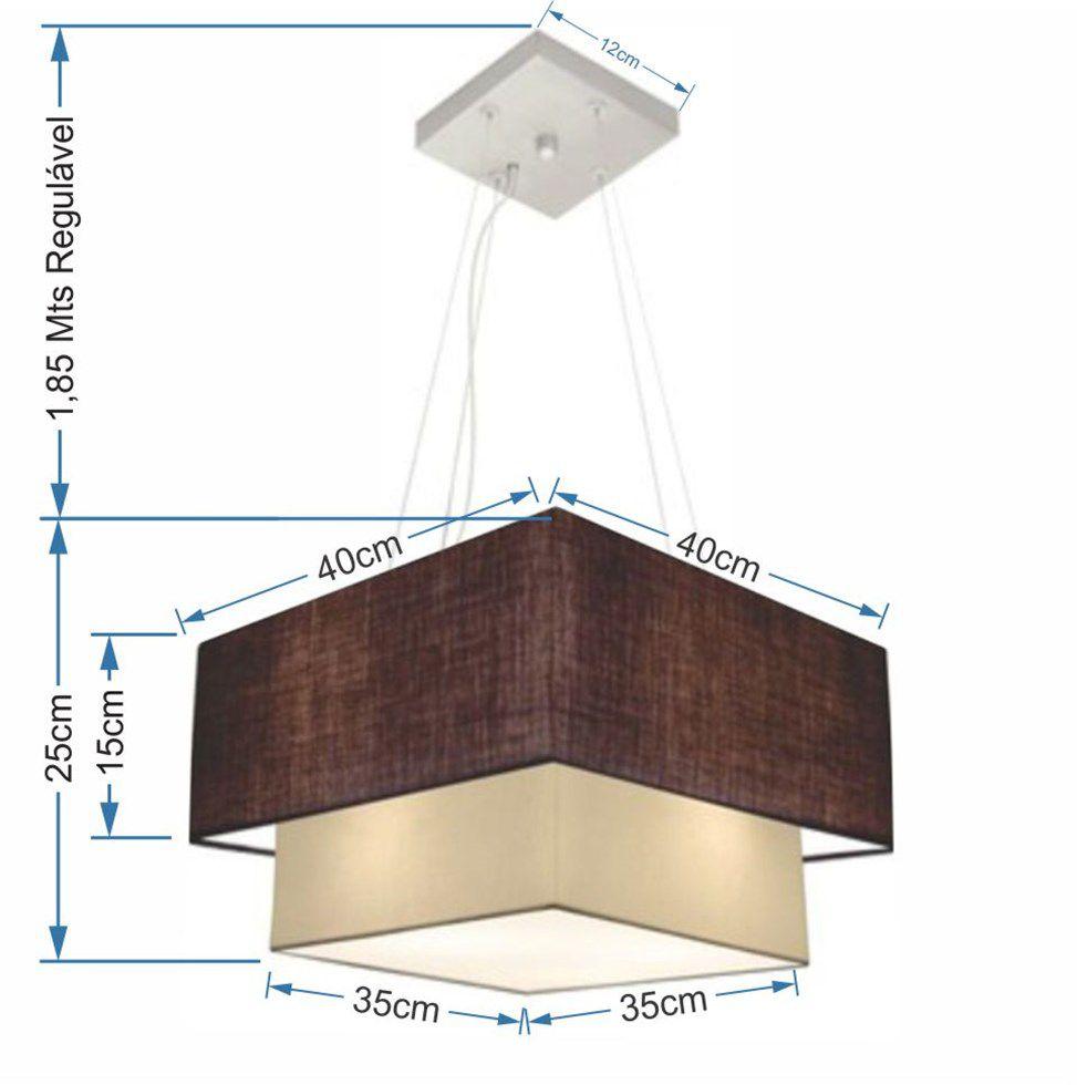 Lustre Pendente Duplo Quadrado Vivare Md-4157 Cúpula em Tecido 40x35cm Café / Bege - Bivolt