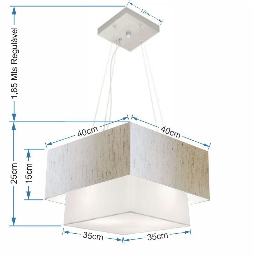 Lustre Pendente Duplo Quadrado Vivare Md-4157 Cúpula em Tecido 40x35cm Linho Bege / Branco - Bivolt