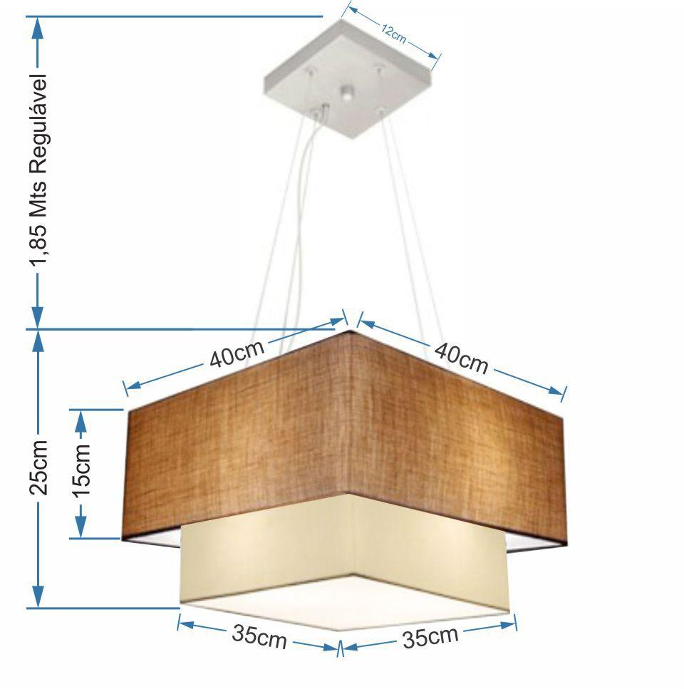 Lustre Pendente Duplo Quadrado Vivare Md-4157 Cúpula em Tecido 40x35cm Palha / Bege - Bivolt