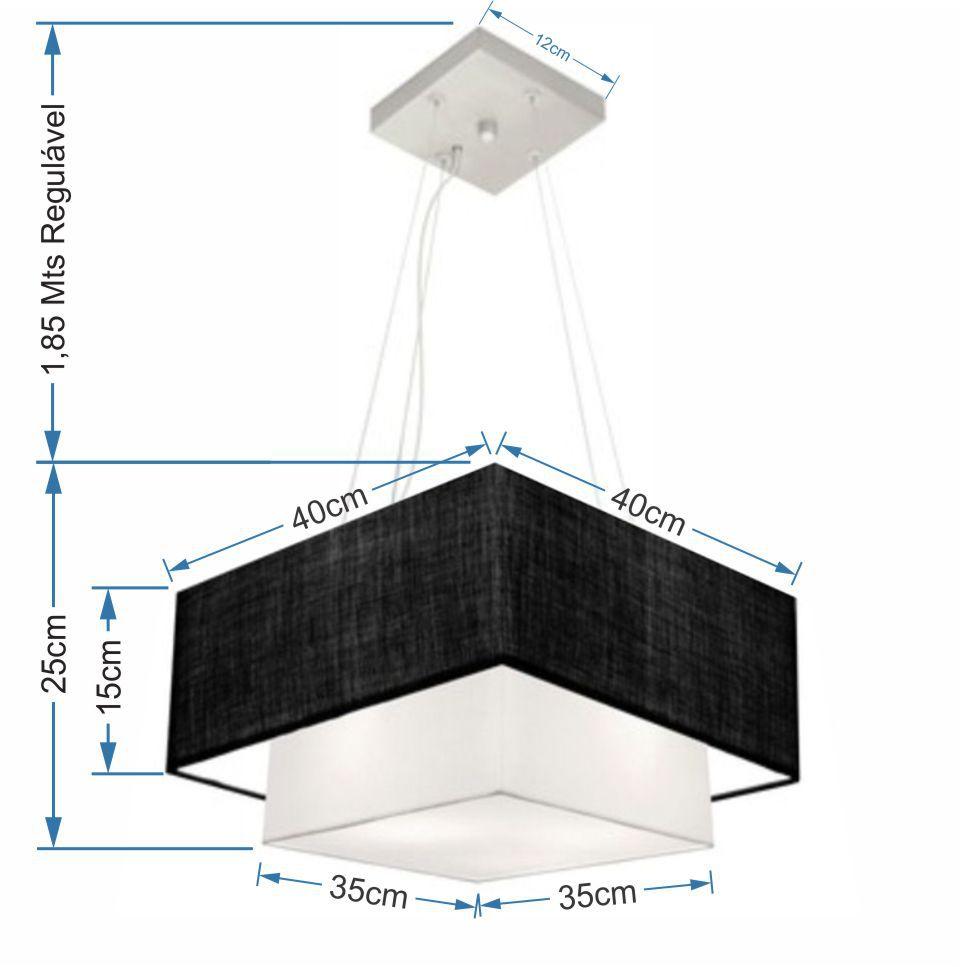 Lustre Pendente Duplo Quadrado Vivare Md-4157 Cúpula em Tecido 40x35cm Preto / Branco - Bivolt