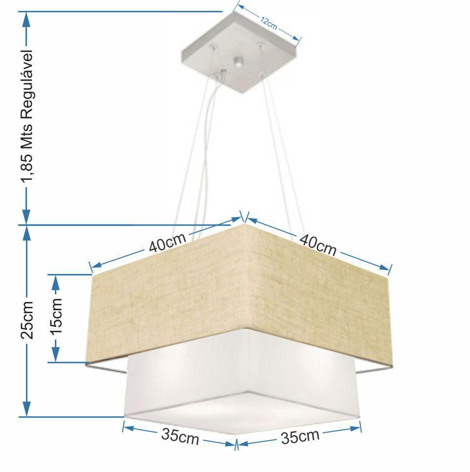 Lustre Pendente Duplo Quadrado Vivare Md-4157 Cúpula em Tecido 40x35cm Rustico Bege / Branco - Bivolt