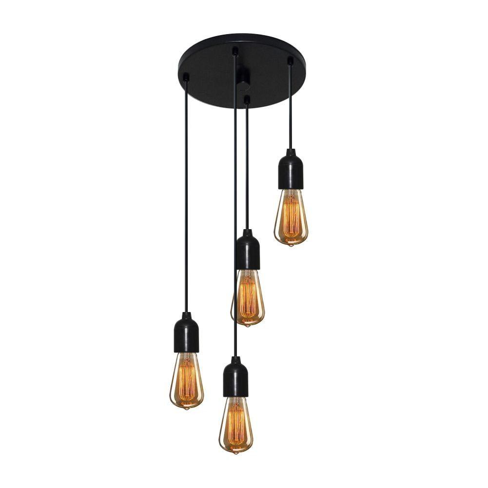 Lustre Pendente Luminária Retro Md-4162/4 Suporte Para Lâmpada / Não Inclusa - Bivolt