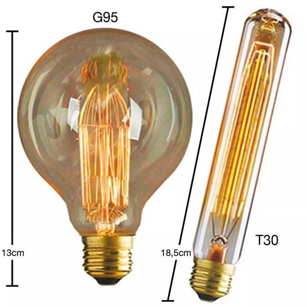 Lustre Pendente Luminária Retro Md-4162/8 Suporte Para Lâmpada / Não Inclusa - Bivolt