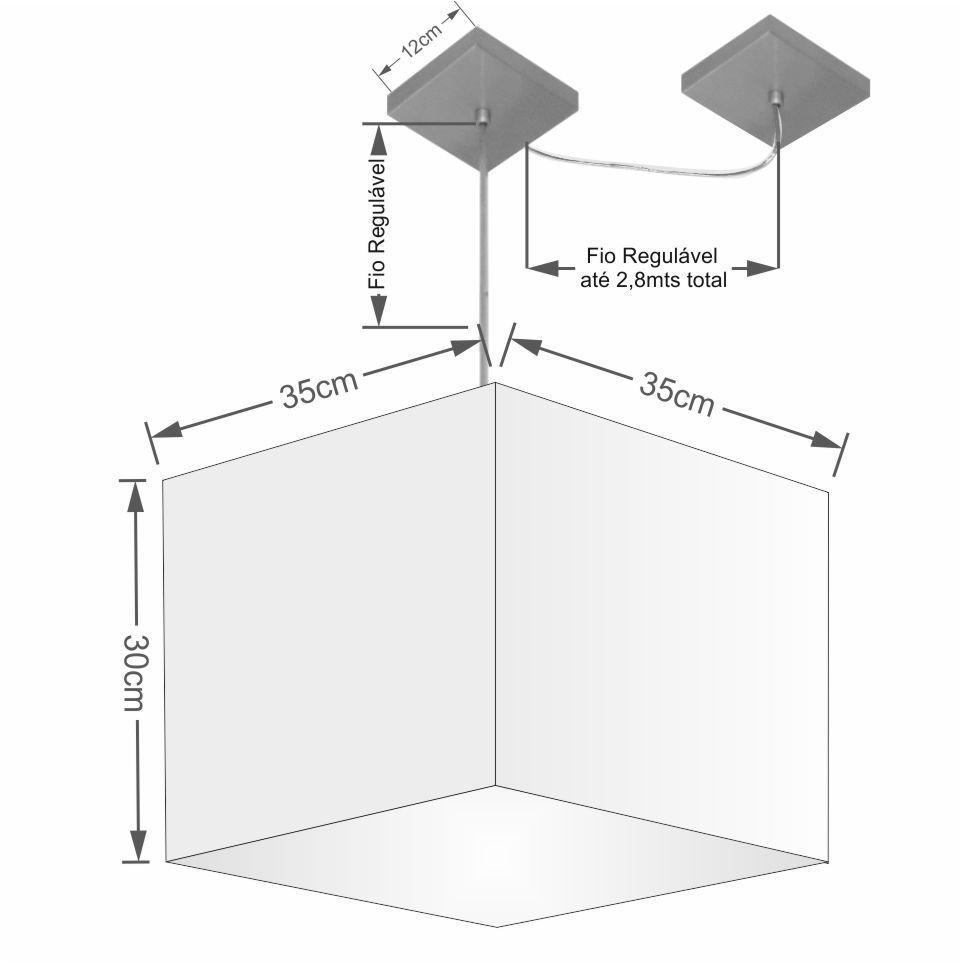 Lustre Pendente Quad C/ Desvio Md-4268 Cúpula em Tecido 30/35x35cm Rustico Cinza - Bivolt