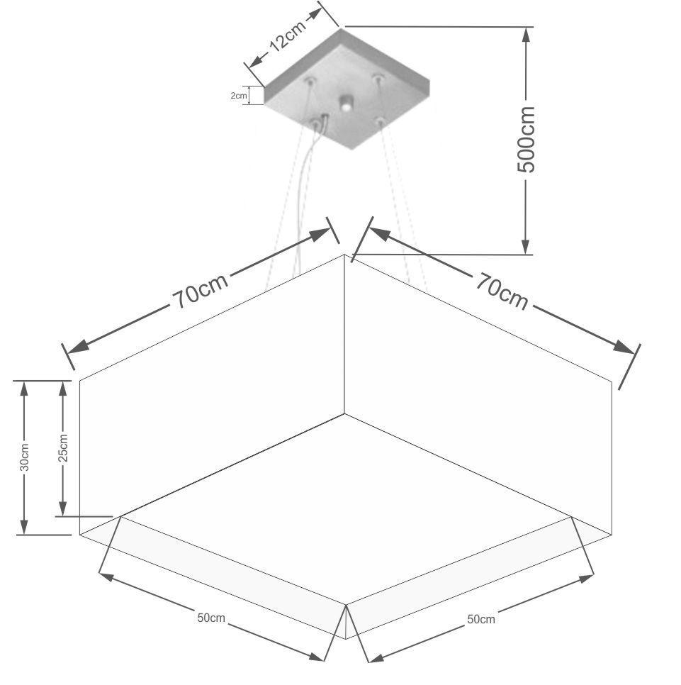 Lustre Pendente Quadrado Duplo Vivare Md-4128 Cúpula em Tecido 30/70x70cm - Bivolt