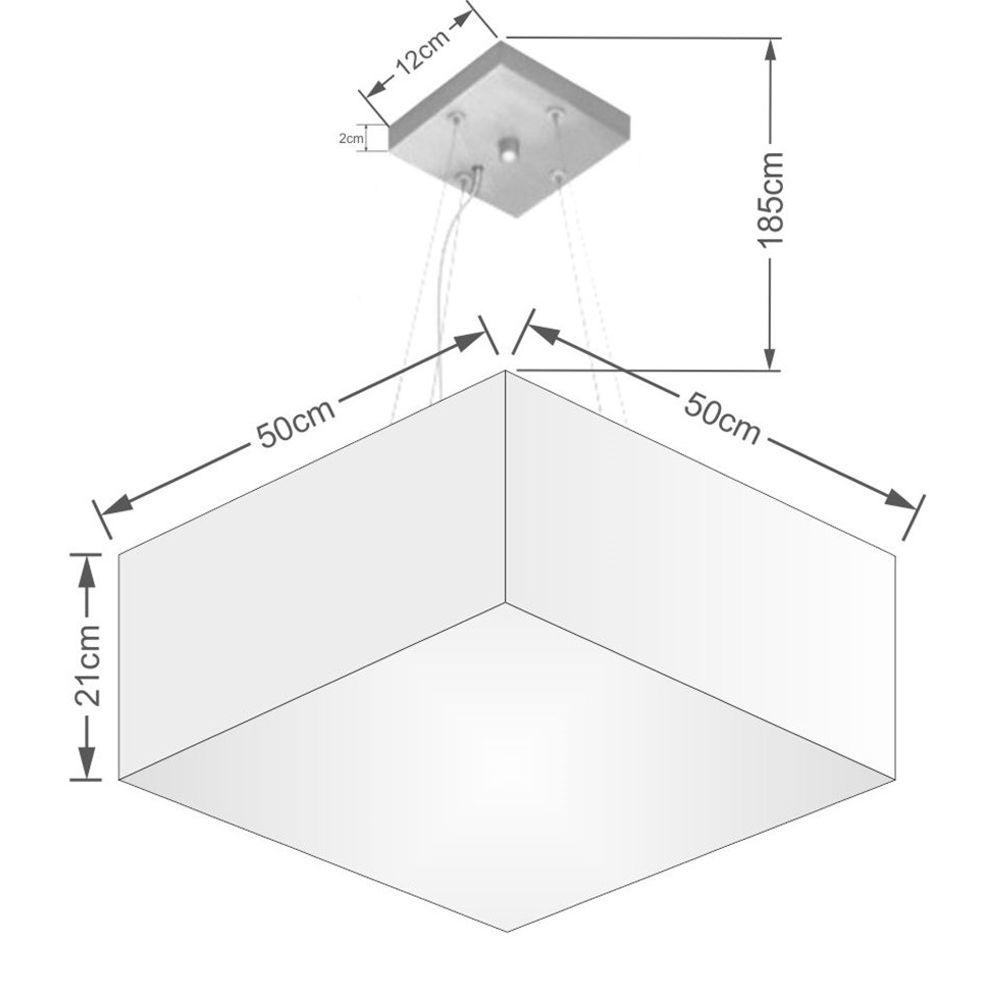 Lustre Pendente Quadrado Md-4006 Cúpula em Tecido 21/50x50cm Branco - Bivolt