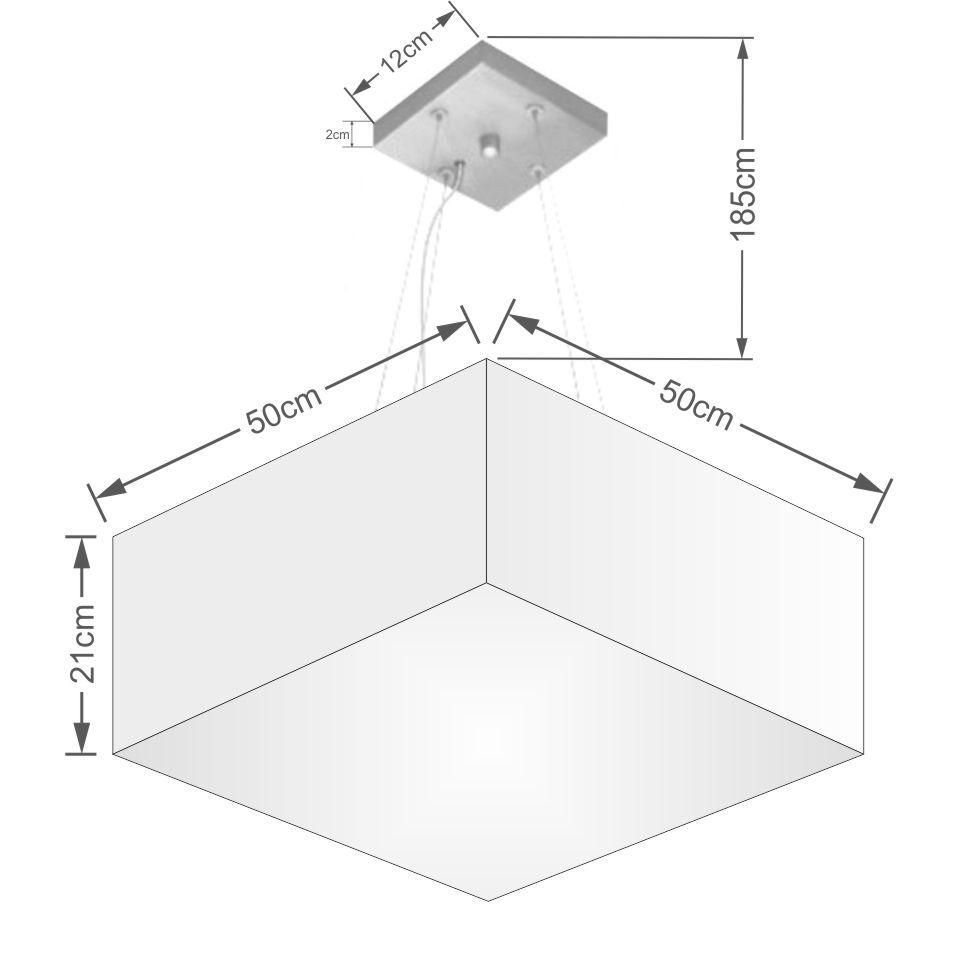 Lustre Pendente Quadrado Md-4006 Cúpula em Tecido 21/50x50cm Linho Bege - Bivolt